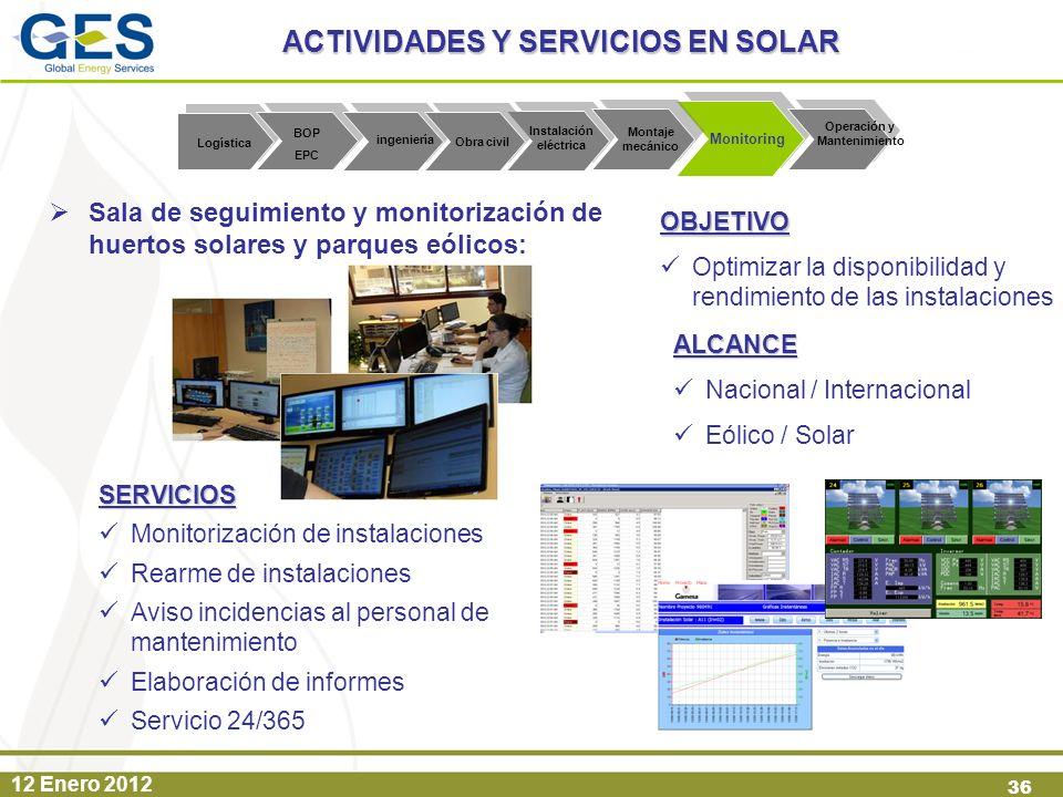 12 Enero 2012 36 Sala de seguimiento y monitorización de huertos solares y parques eólicos: Monitoring Instalación eléctrica SERVICIOS Monitorización