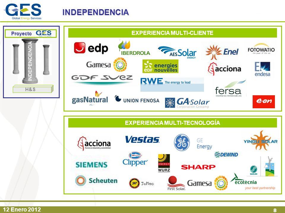 12 Enero 2012 8 INDEPENDENCIA INDEPENDENCIA Proyecto Proyecto H&S EXPERIENCIA MULTI-TECNOLOGÍA EXPERIENCIA MULTI-CLIENTE