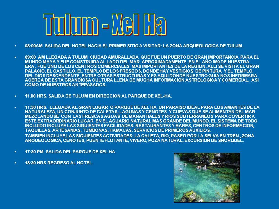 08:00AM SALIDA DEL HOTEL HACIA EL PRIMER SITIO A VISITAR: LA ZONA ARQUEOLOGICA DE TULUM.