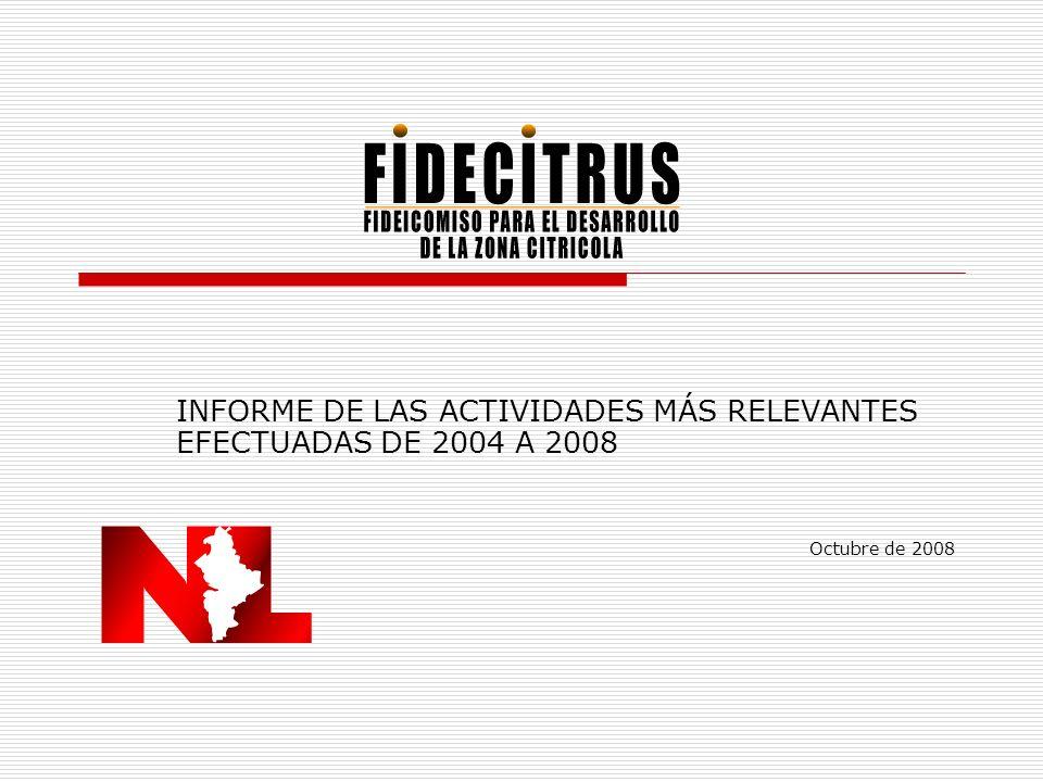 INFORME DE LAS ACTIVIDADES MÁS RELEVANTES EFECTUADAS DE 2004 A 2008 Octubre de 2008