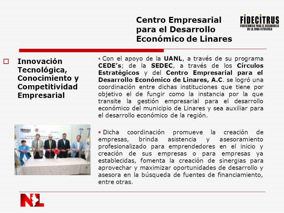 Innovación Tecnológica, Conocimiento y Competitividad Empresarial Centro Empresarial para el Desarrollo Económico de Linares Con el apoyo de la UANL,