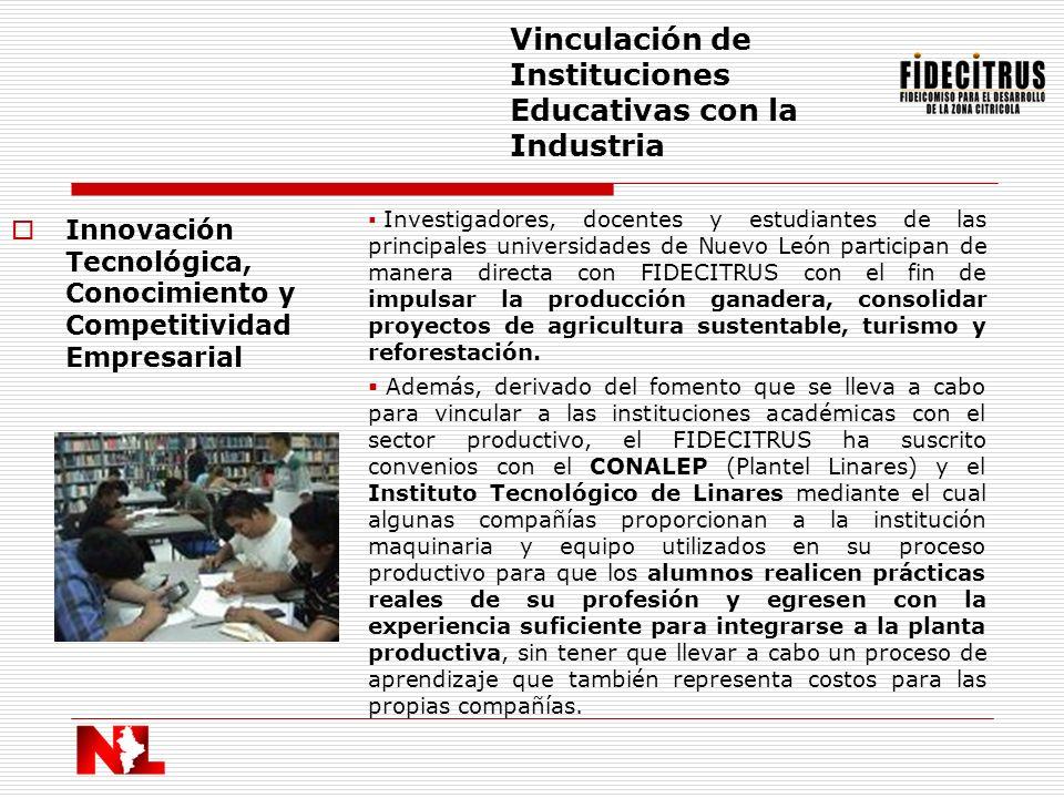 Innovación Tecnológica, Conocimiento y Competitividad Empresarial Vinculación de Instituciones Educativas con la Industria Investigadores, docentes y