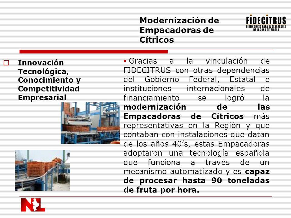 Innovación Tecnológica, Conocimiento y Competitividad Empresarial Modernización de Empacadoras de Cítricos Gracias a la vinculación de FIDECITRUS con