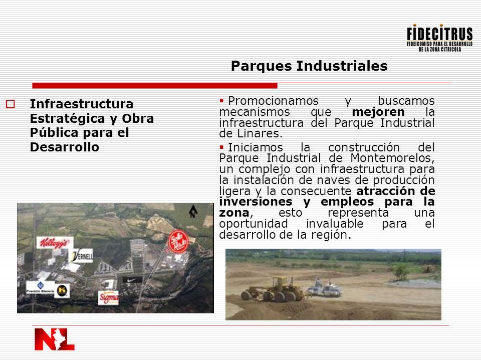 Infraestructura Estratégica y Obra Pública para el Desarrollo Parques Industriales Promocionamos y buscamos mecanismos que mejoren la infraestructura