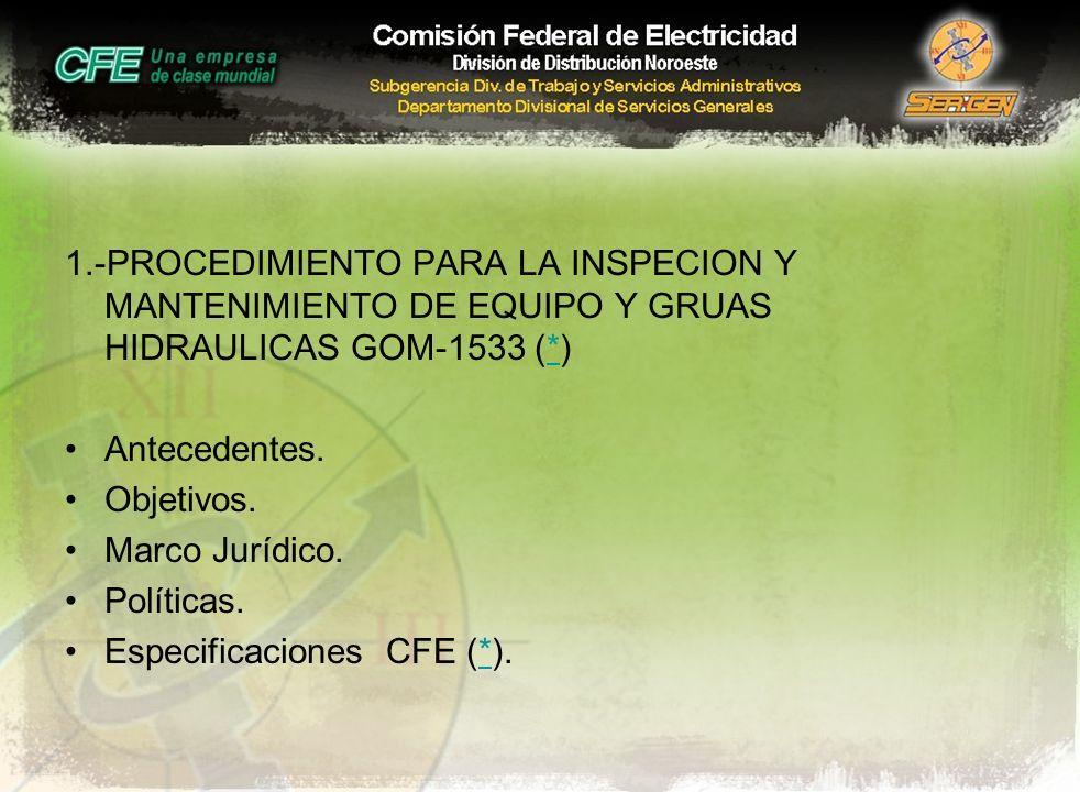 1.-PROCEDIMIENTO PARA LA INSPECION Y MANTENIMIENTO DE EQUIPO Y GRUAS HIDRAULICAS GOM-1533 (*)* Antecedentes. Objetivos. Marco Jurídico. Políticas. Esp