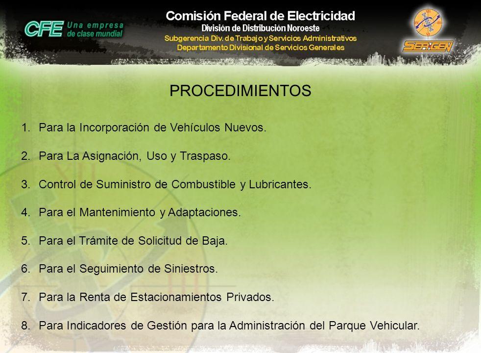 PROCEDIMIENTOS 1.Para la Incorporación de Vehículos Nuevos. 2.Para La Asignación, Uso y Traspaso. 3.Control de Suministro de Combustible y Lubricantes