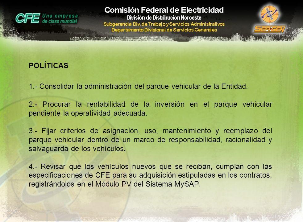 POLÍTICAS 1.- Consolidar la administración del parque vehicular de la Entidad. 2.- Procurar la rentabilidad de la inversión en el parque vehicular pen