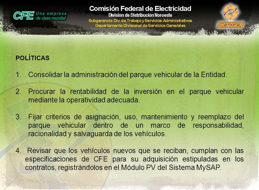 POLÍTICAS 1.Consolidar la administración del parque vehicular de la Entidad. 2.Procurar la rentabilidad de la inversión en el parque vehicular mediant