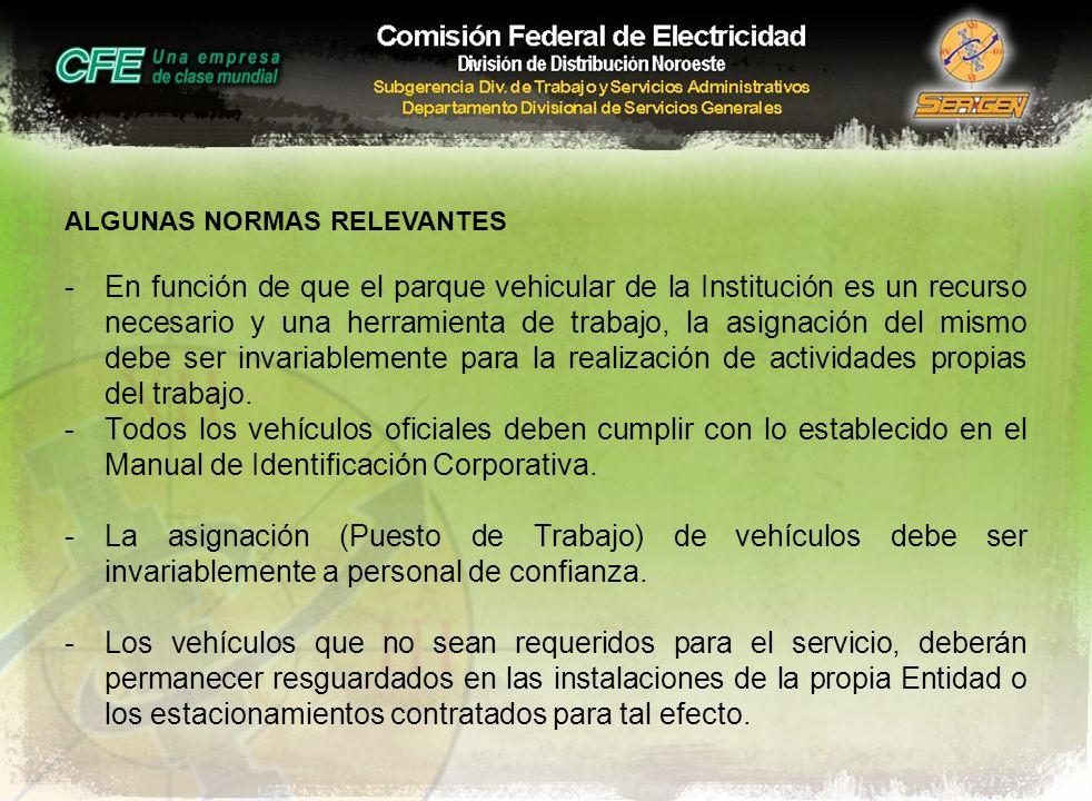 ALGUNAS NORMAS RELEVANTES -En función de que el parque vehicular de la Institución es un recurso necesario y una herramienta de trabajo, la asignación