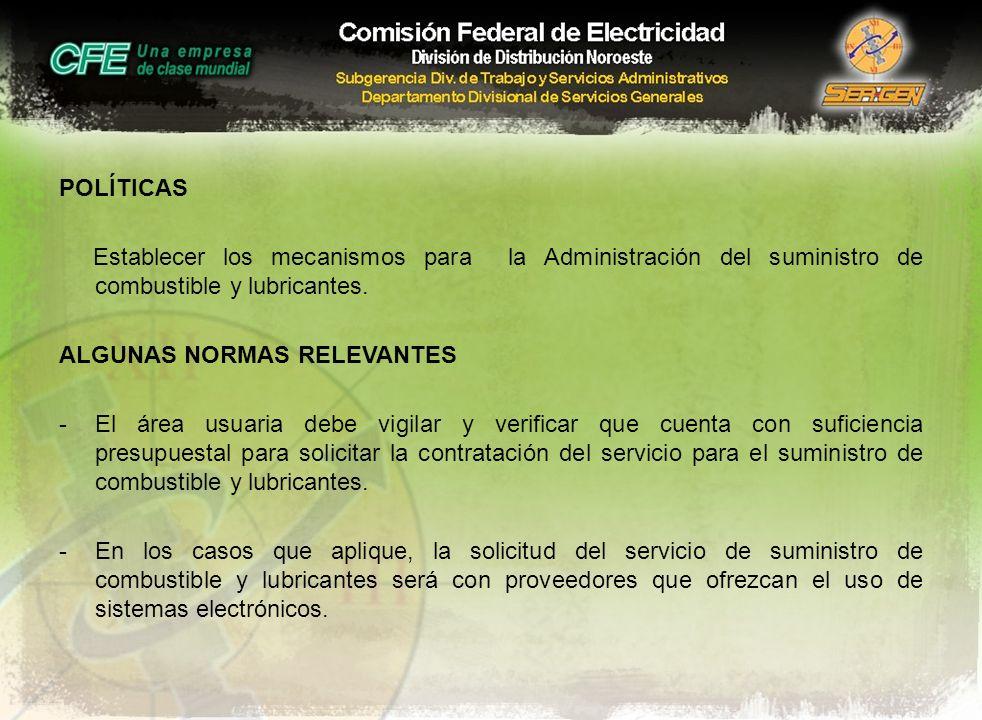 POLÍTICAS Establecer los mecanismos para la Administración del suministro de combustible y lubricantes. ALGUNAS NORMAS RELEVANTES -El área usuaria deb