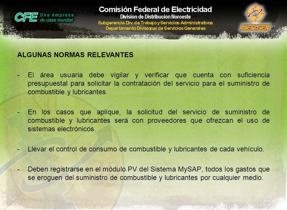 ALGUNAS NORMAS RELEVANTES -El área usuaria debe vigilar y verificar que cuenta con suficiencia presupuestal para solicitar la contratación del servici