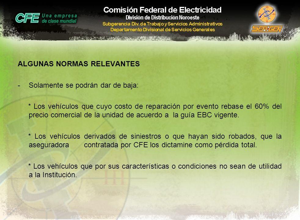 ALGUNAS NORMAS RELEVANTES -Solamente se podrán dar de baja: * Los vehículos que cuyo costo de reparación por evento rebase el 60% del precio comercial