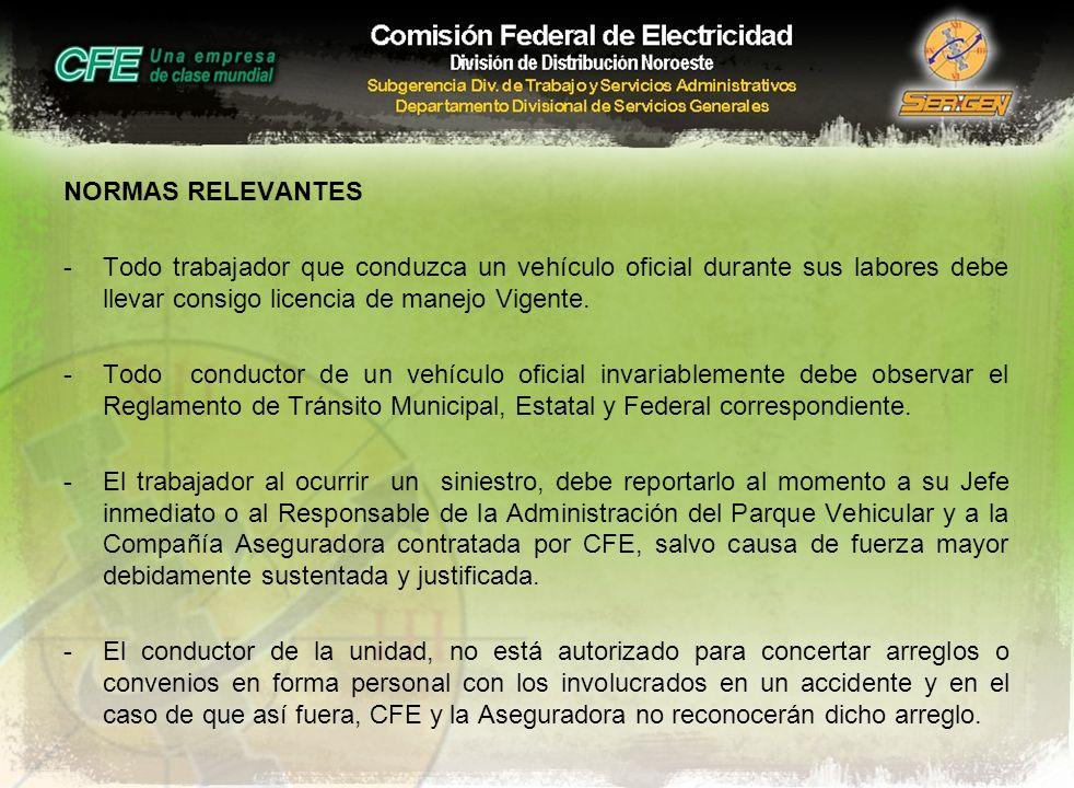 NORMAS RELEVANTES -Todo trabajador que conduzca un vehículo oficial durante sus labores debe llevar consigo licencia de manejo Vigente. -Todo conducto