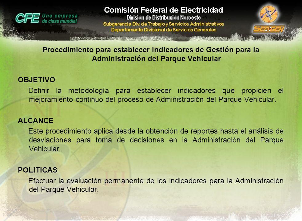 Procedimiento para establecer Indicadores de Gestión para la Administración del Parque Vehicular OBJETIVO Definir la metodología para establecer indic