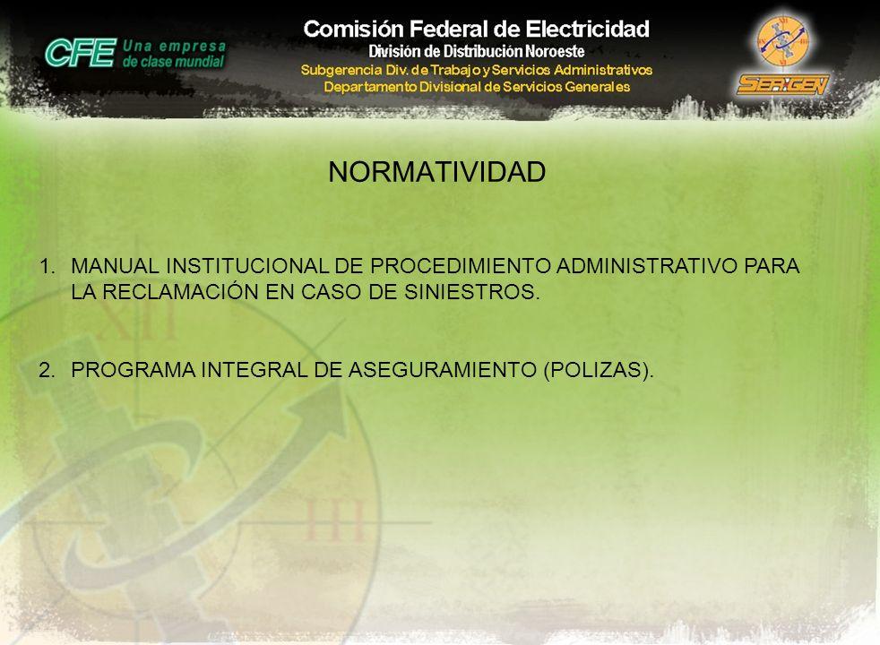 NORMATIVIDAD 1.MANUAL INSTITUCIONAL DE PROCEDIMIENTO ADMINISTRATIVO PARA LA RECLAMACIÓN EN CASO DE SINIESTROS. 2.PROGRAMA INTEGRAL DE ASEGURAMIENTO (P
