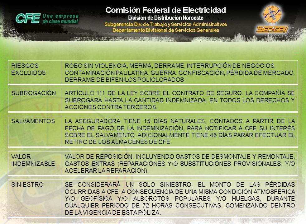 RIESGOS EXCLUIDOS ROBO SIN VIOLENCIA, MERMA, DERRAME, INTERRUPCIÓN DE NEGOCIOS, CONTAMINACIÓN PAULATINA, GUERRA, CONFISCACIÓN, PÉRDIDA DE MERCADO, DER