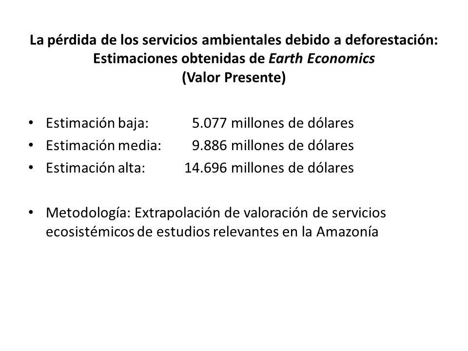 La pérdida de los servicios ambientales debido a deforestación: Estimaciones obtenidas de Earth Economics (Valor Presente) Estimación baja: 5.077 millones de dólares Estimación media:9.886 millones de dólares Estimación alta: 14.696 millones de dólares Metodología: Extrapolación de valoración de servicios ecosistémicos de estudios relevantes en la Amazonía