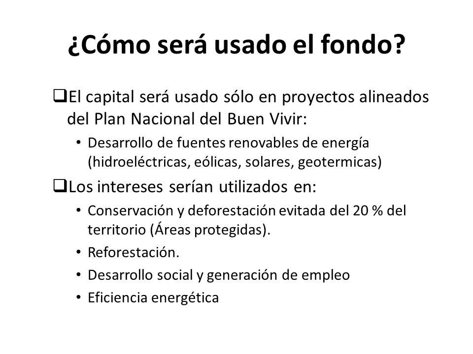¿Cómo será usado el fondo? El capital será usado sólo en proyectos alineados del Plan Nacional del Buen Vivir: Desarrollo de fuentes renovables de ene