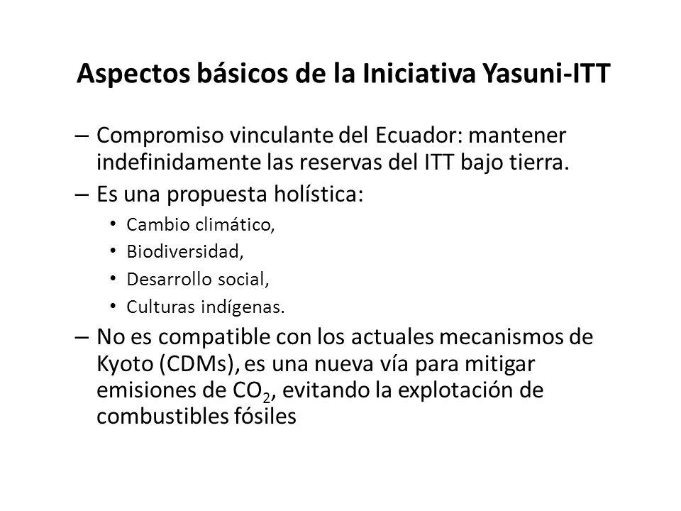 Aspectos básicos de la Iniciativa Yasuni-ITT – Compromiso vinculante del Ecuador: mantener indefinidamente las reservas del ITT bajo tierra. – Es una
