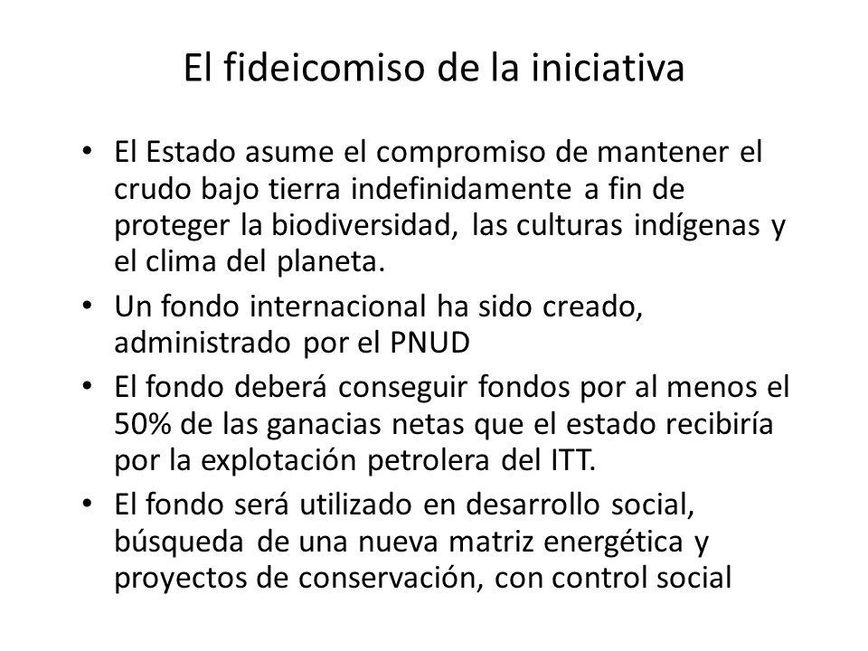 El fideicomiso de la iniciativa El Estado asume el compromiso de mantener el crudo bajo tierra indefinidamente a fin de proteger la biodiversidad, las culturas indígenas y el clima del planeta.