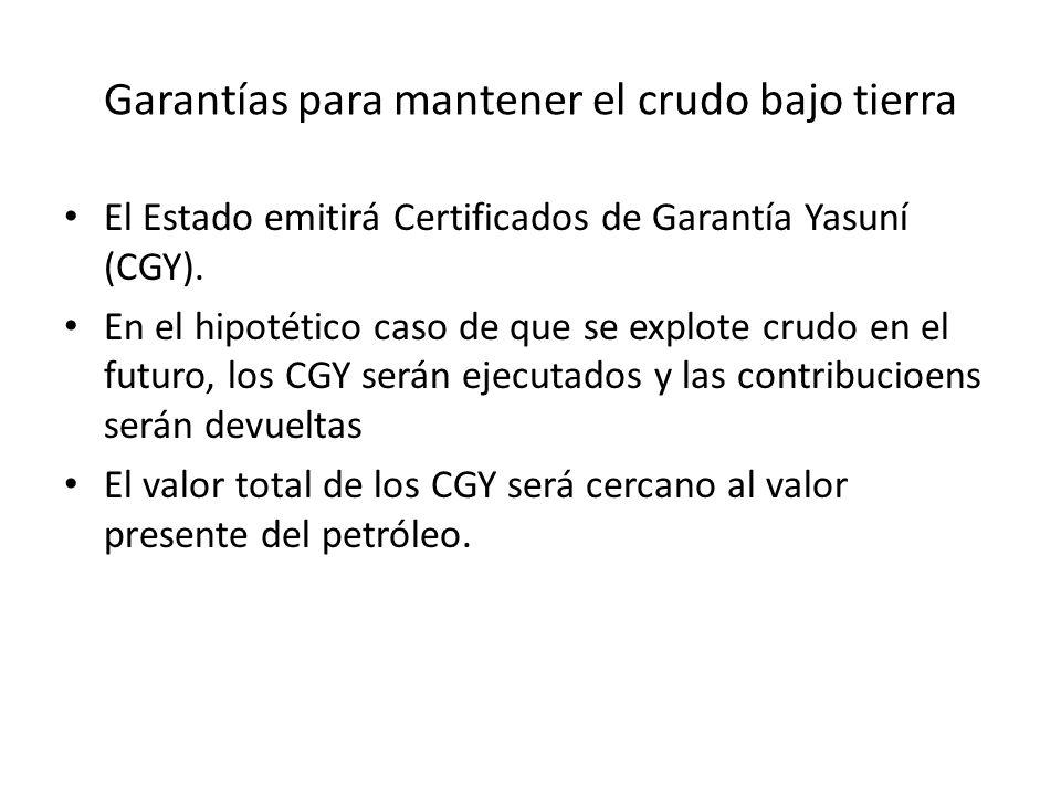 Garantías para mantener el crudo bajo tierra El Estado emitirá Certificados de Garantía Yasuní (CGY). En el hipotético caso de que se explote crudo en