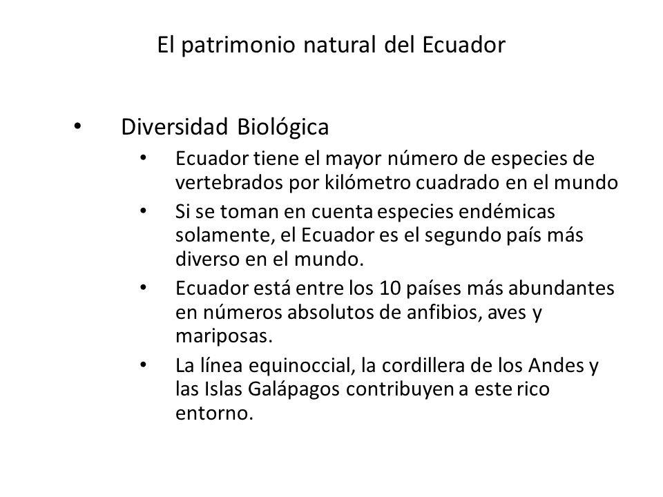 El patrimonio natural del Ecuador Diversidad Biológica Ecuador tiene el mayor número de especies de vertebrados por kilómetro cuadrado en el mundo Si se toman en cuenta especies endémicas solamente, el Ecuador es el segundo país más diverso en el mundo.