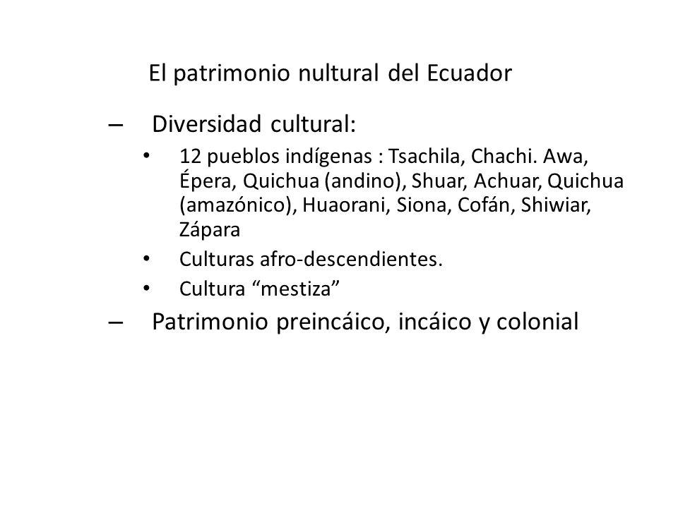 El patrimonio nultural del Ecuador – Diversidad cultural: 12 pueblos indígenas : Tsachila, Chachi. Awa, Épera, Quichua (andino), Shuar, Achuar, Quichu