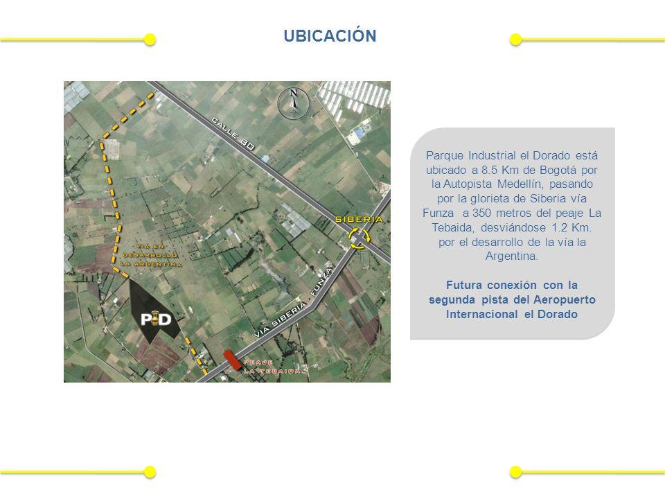 Parque Industrial el Dorado está ubicado a 8.5 Km de Bogotá por la Autopista Medellín, pasando por la glorieta de Siberia vía Funza a 350 metros del peaje La Tebaida, desviándose 1.2 Km.