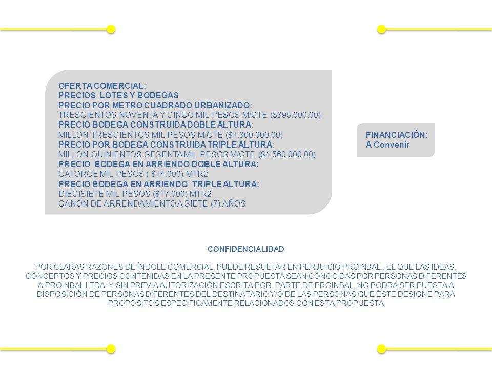 OFERTA COMERCIAL: PRECIOS LOTES Y BODEGAS PRECIO POR METRO CUADRADO URBANIZADO: TRESCIENTOS NOVENTA Y CINCO MIL PESOS M/CTE ($395.000.00) PRECIO BODEGA CONSTRUIDA DOBLE ALTURA: MILLON TRESCIENTOS MIL PESOS M/CTE ($1.300.000.00) PRECIO POR BODEGA CONSTRUIDA TRIPLE ALTURA: MILLON QUINIENTOS SESENTA MIL PESOS M/CTE ($1.560.000.00) PRECIO BODEGA EN ARRIENDO DOBLE ALTURA: CATORCE MIL PESOS ( $14.000) MTR2 PRECIO BODEGA EN ARRIENDO TRIPLE ALTURA: DIECISIETE MIL PESOS ($17.000) MTR2 CANON DE ARRENDAMIENTO A SIETE (7) AÑOS CONFIDENCIALIDAD POR CLARAS RAZONES DE ÍNDOLE COMERCIAL, PUEDE RESULTAR EN PERJUICIO PROINBAL., EL QUE LAS IDEAS, CONCEPTOS Y PRECIOS CONTENIDAS EN LA PRESENTE PROPUESTA SEAN CONOCIDAS POR PERSONAS DIFERENTES A PROINBAL LTDA.