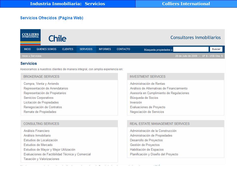 Colliers International Servicios Ofrecidos (Página Web)