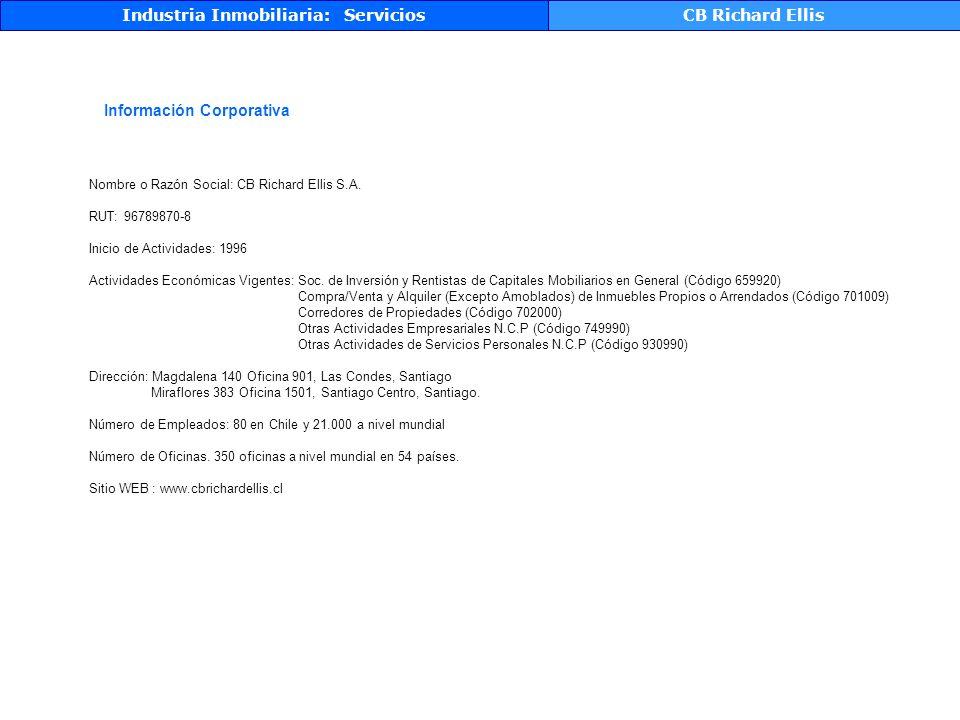 Información Corporativa Industria Inmobiliaria: ServiciosCB Richard Ellis Nombre o Razón Social: CB Richard Ellis S.A.