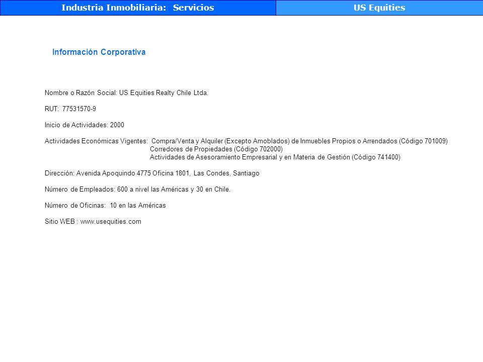 Industria Inmobiliaria: ServiciosUS Equities Información Corporativa Nombre o Razón Social: US Equities Realty Chile Ltda.