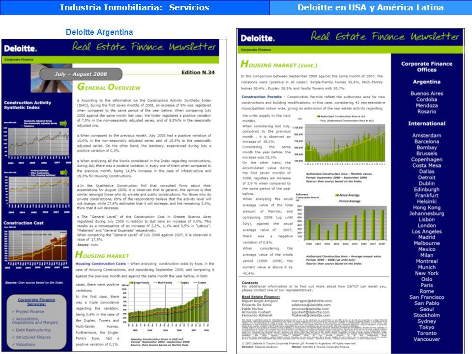 Deloitte Argentina Industria Inmobiliaria: ServiciosDeloitte en USA y América Latina