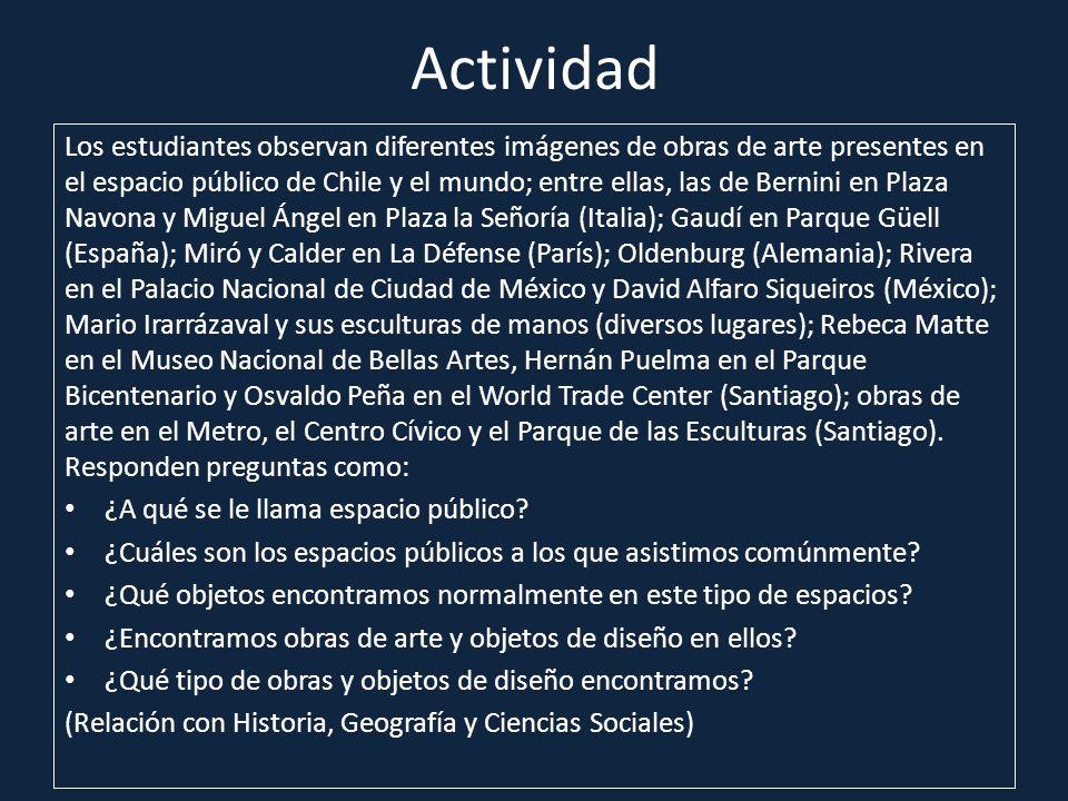 Actividad Los estudiantes observan diferentes imágenes de obras de arte presentes en el espacio público de Chile y el mundo; entre ellas, las de Berni