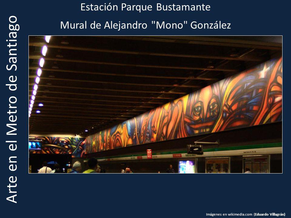 Estación Parque Bustamante Mural de Alejandro Mono González Arte en el Metro de Santiago Imágenes en wikimedia.com (Eduardo Villagrán) )