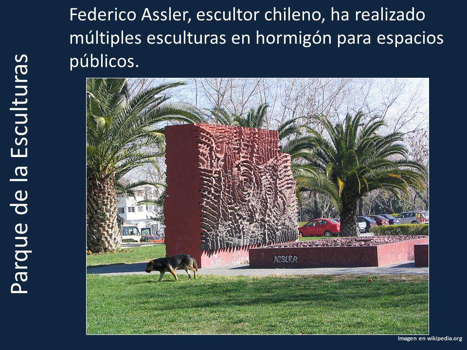 Parque de la Esculturas Federico Assler, escultor chileno, ha realizado múltiples esculturas en hormigón para espacios públicos. Imagen en wikipedia.o