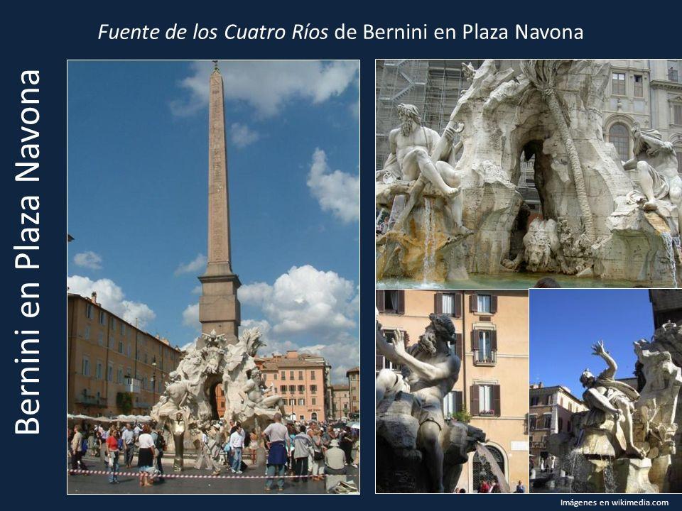 Fuente de los Cuatro Ríos de Bernini en Plaza Navona Imágenes en wikimedia.com Bernini en Plaza Navona