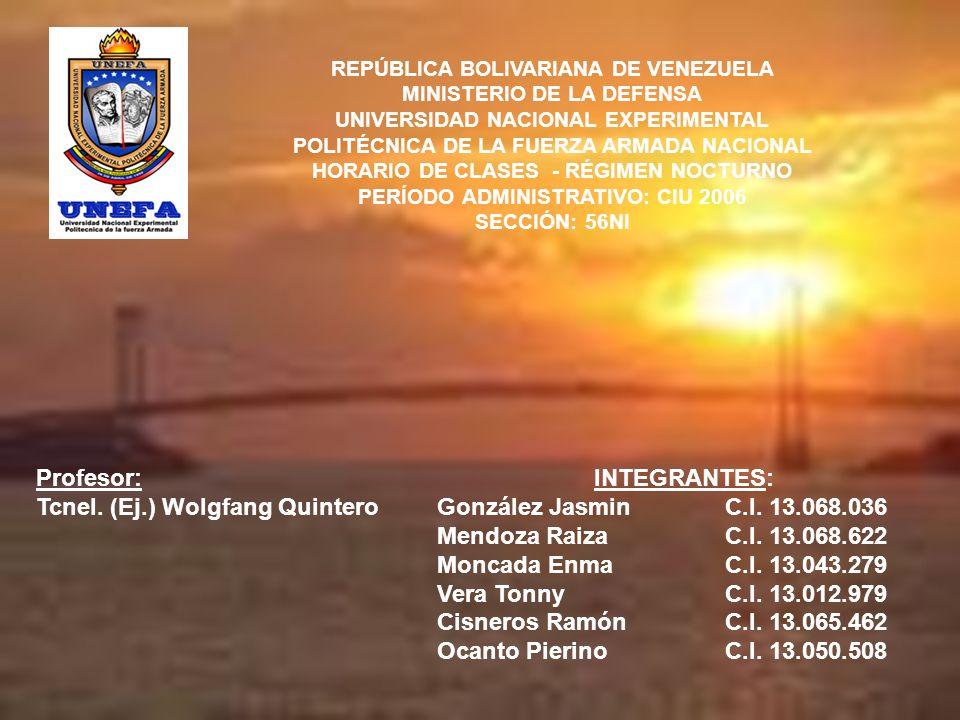 REPÚBLICA BOLIVARIANA DE VENEZUELA MINISTERIO DE LA DEFENSA UNIVERSIDAD NACIONAL EXPERIMENTAL POLITÉCNICA DE LA FUERZA ARMADA NACIONAL HORARIO DE CLAS