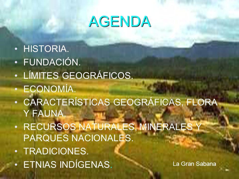AGENDA HISTORIA. FUNDACIÓN. LÍMITES GEOGRÁFICOS. ECONOMÍA. CARACTERÍSTICAS GEOGRÁFICAS, FLORA Y FAUNA. RECURSOS NATURALES, MINERALES Y PARQUES NACIONA