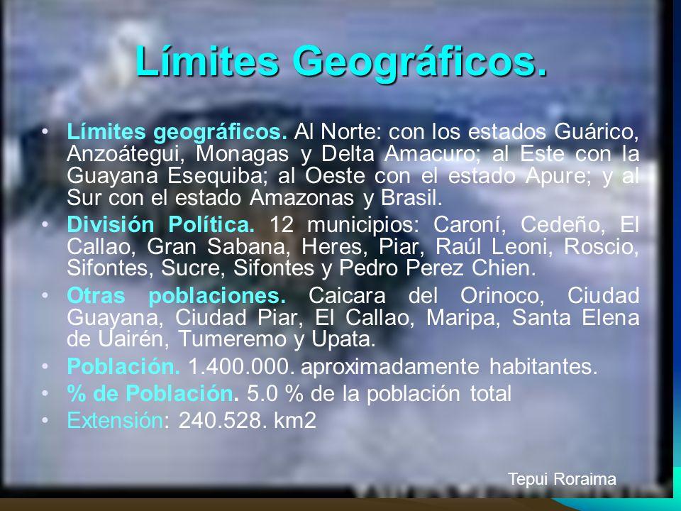 Límites Geográficos. Límites geográficos. Al Norte: con los estados Guárico, Anzoátegui, Monagas y Delta Amacuro; al Este con la Guayana Esequiba; al