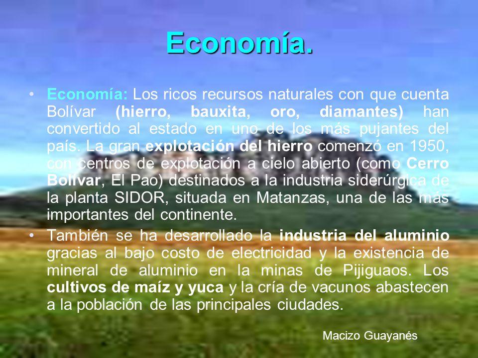 Economía. Economía: Los ricos recursos naturales con que cuenta Bolívar (hierro, bauxita, oro, diamantes) han convertido al estado en uno de los más p