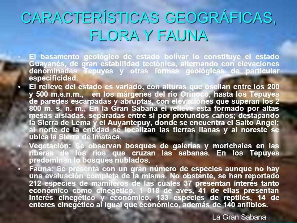 CARACTERÍSTICAS GEOGRÁFICAS, FLORA Y FAUNA El basamento geológico de estado bolívar lo constituye el estado Guayanés, de gran estabilidad tectònica, a