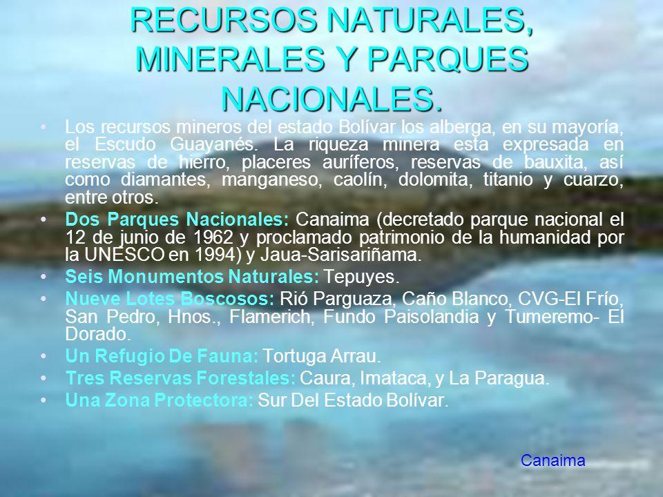 RECURSOS NATURALES, MINERALES Y PARQUES NACIONALES. Los recursos mineros del estado Bolívar los alberga, en su mayoría, el Escudo Guayanés. La riqueza