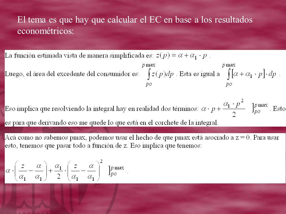 El tema es que hay que calcular el EC en base a los resultados econométricos: