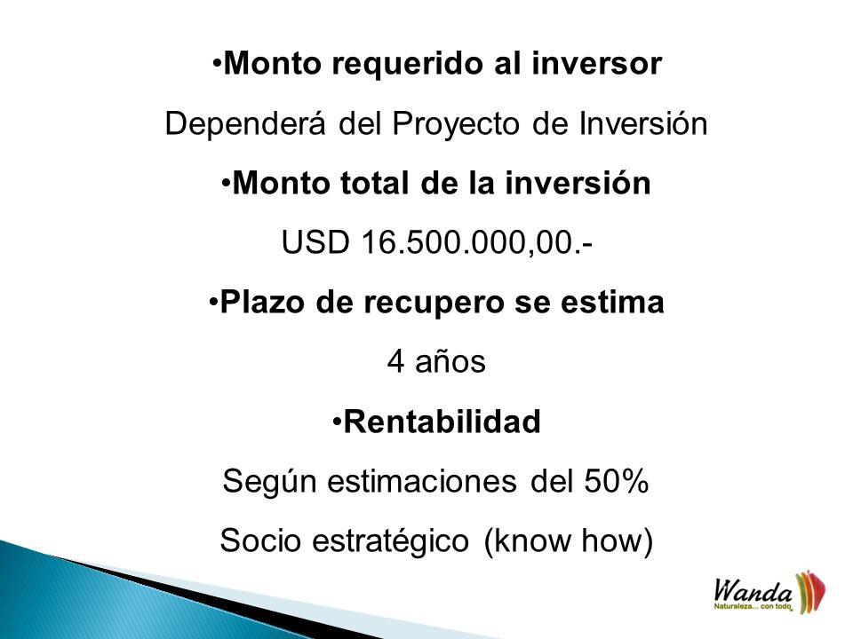 Monto requerido al inversor Dependerá del Proyecto de Inversión Monto total de la inversión USD 16.500.000,00.- Plazo de recupero se estima 4 años Rentabilidad Según estimaciones del 50% Socio estratégico (know how)