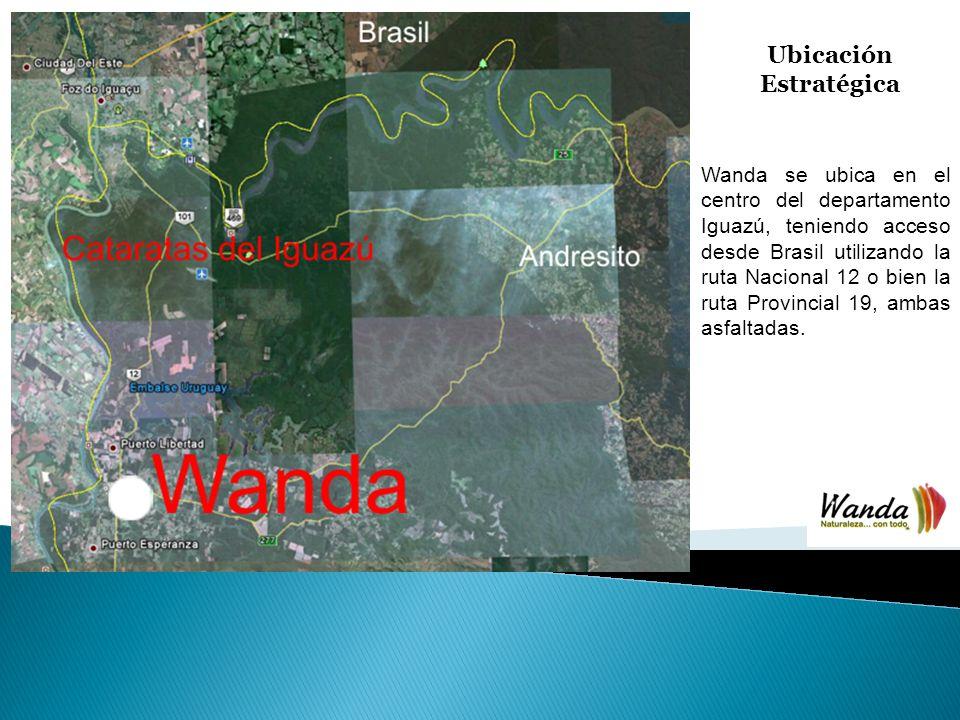 Ubicación Estratégica Wanda se ubica en el centro del departamento Iguazú, teniendo acceso desde Brasil utilizando la ruta Nacional 12 o bien la ruta Provincial 19, ambas asfaltadas.