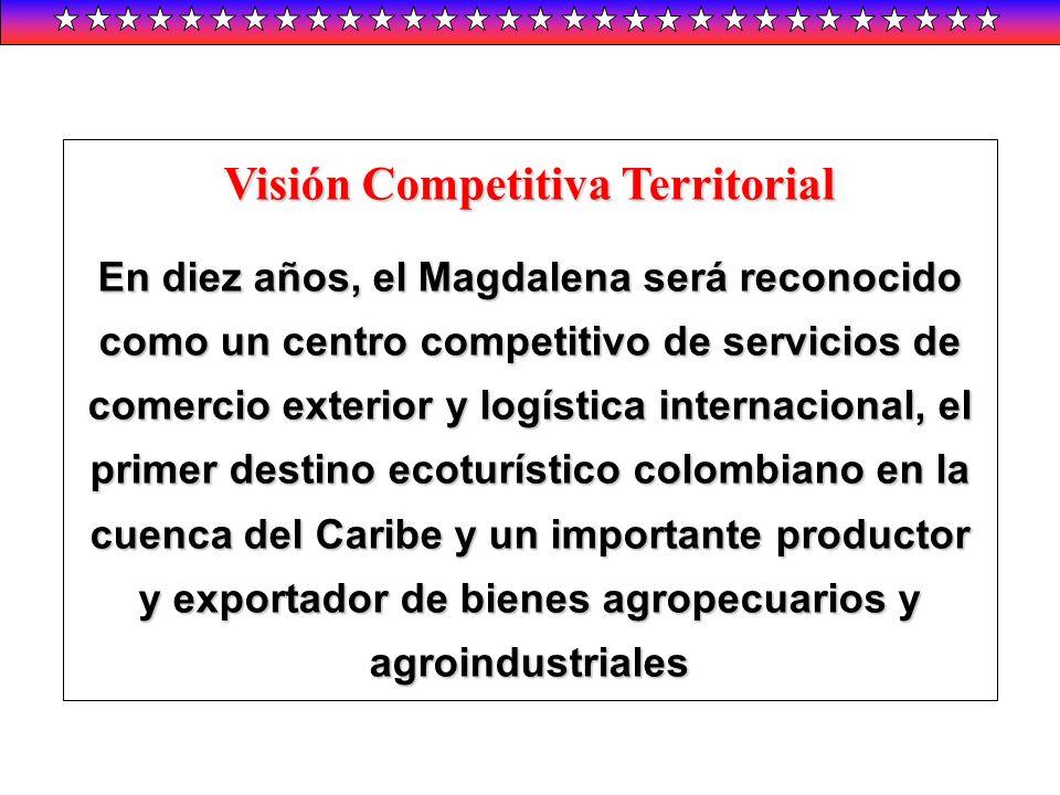 Visión Competitiva Territorial En diez años, el Magdalena será reconocido como un centro competitivo de servicios de comercio exterior y logística int