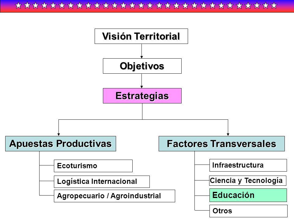 Visión Territorial Objetivos Estrategias Apuestas Productivas Factores Transversales Ecoturismo Logística Internacional Agropecuario / Agroindustrial