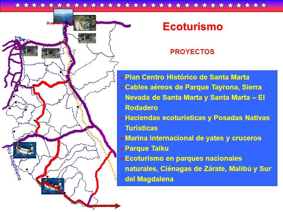 Ecoturismo Plan Centro Histórico de Santa Marta Cables aéreos de Parque Tayrona, Sierra Nevada de Santa Marta y Santa Marta – El Rodadero Haciendas ec