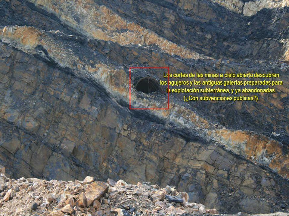 Los cortes de las minas a cielo abierto descubren los agujeros y las antiguas galerías preparadas para la explotación subterránea, y ya abandonadas.